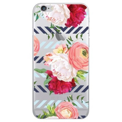 iPhone 6/6S/7/8 Case Hybrid Peonies & Ranunculus Clear Blue - OTM Essentials