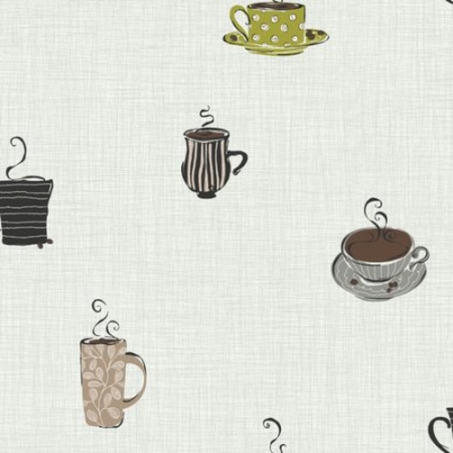 York Wallcoverings KB8509 Bistro 750 Coffee Mug Prepasted Wallpaper, Metallic Silver / Lime / Ash Gray [Metallic .167, Wallpaper]