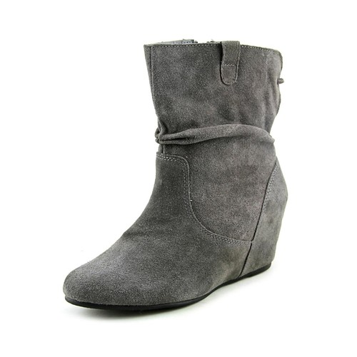 White Mountain Perfect Women Round Toe Suede Gray Ankle Boot