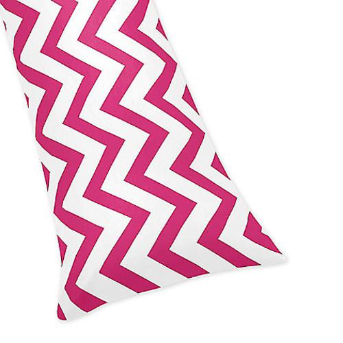 Sweet Jojo Designs Chevron Body Pillowcase in Pink and White