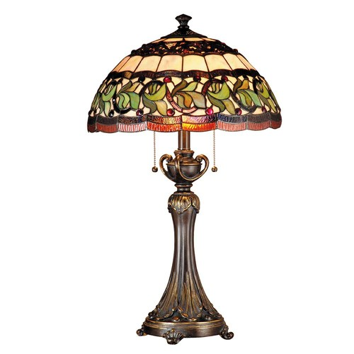 Dale Tiffany 26 in. Aldridge Antique Gold Bronze Finish Table Lamp with Tiffany Art Glass Shade