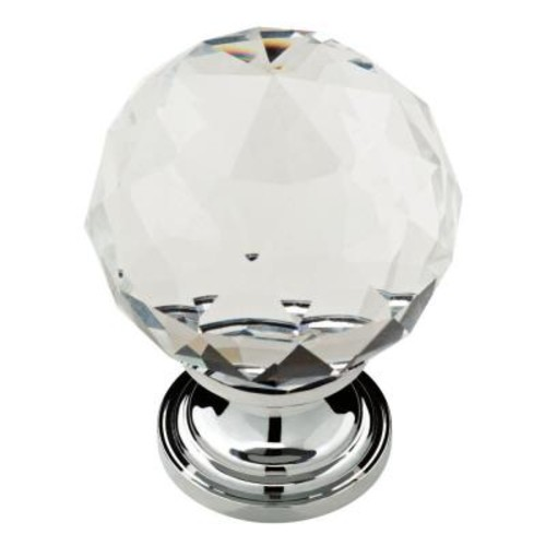 Delta Nora 1-3/16 in. Chrome with Clear Faceted Glass Ball Cabinet Knob (4-Pack)