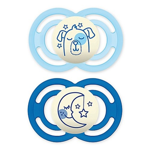 MAM Orthodontic Perfect Night Size 6+ Months 2-Pack Boy Pacifiers in Blue