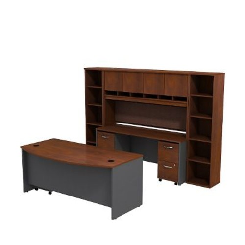 Bush Business Westfield 72W Bowfront Desk with 72W Credenza, Hutch & (2) Bookcases, Hansen Cherry/Graphite Gray