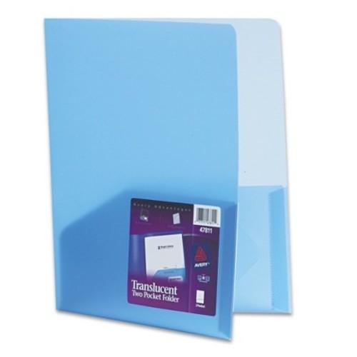 Avery Polypropylene Pocket Portfolio, Translucent Blue