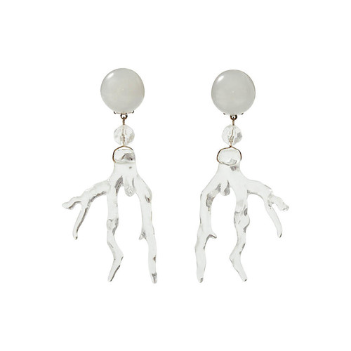 Lucite Coral Branch Earrings