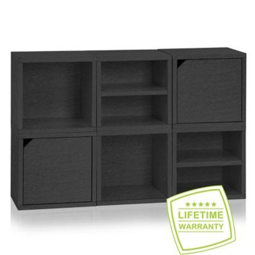 Way Basics Eco Stackable Connect 6 Cube Storage System, Black
