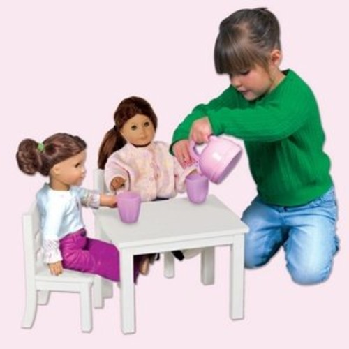 Guidecraft White Wooden Doll Table and Chairs Set - Fits 18
