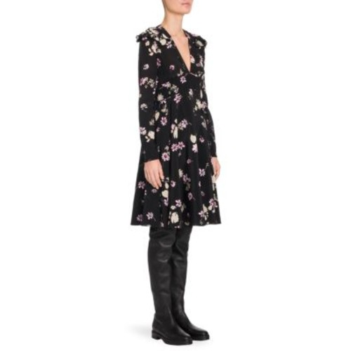 VALENTINO Flowers Fall Silk V-Neck Dress