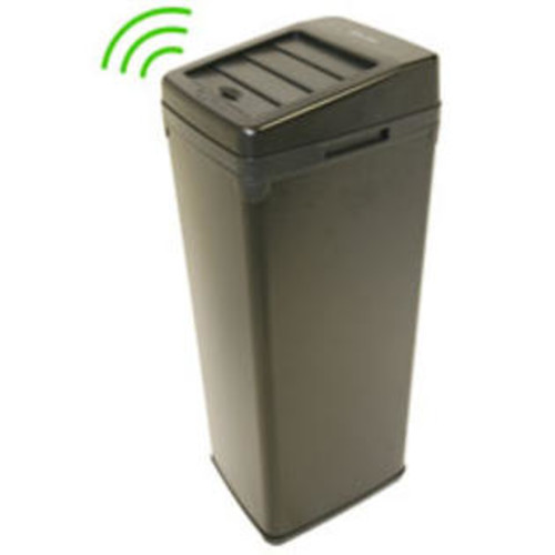iTouchless 14 Gallon Black Steel Automatic Touchless Trash Can with Space Saving Lid