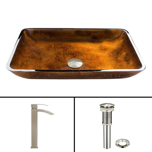 VIGO Glass Vessel Sink in Russet and Duris Faucet Set in Brushed Nickel