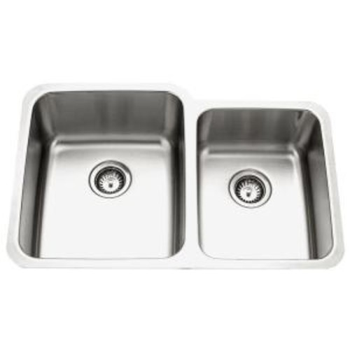 HOUZER Medallion Gourmet Series Undermount Stainless Steel 32 in. 0-Hole Double Bowl Kitchen Sink with Small Right Bowl