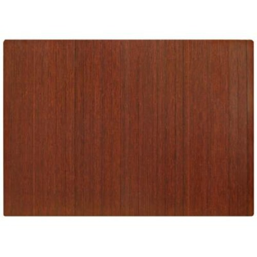 Anji Mountain Standard Dark Brown Mahogany 48 in. x 72 in. Bamboo Roll-Up Office Chair Mat without Lip