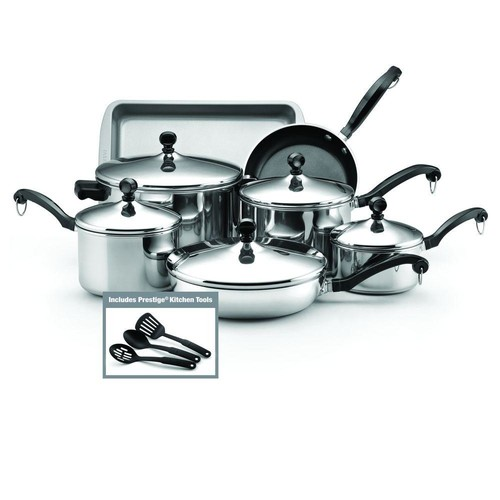 Farberware Classic 12-Piece Stainless Steel Cookware Set with Lids