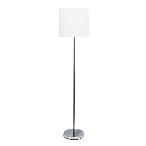 Simple Designs Brushed Nickel Drum Shade Floor Lamp, White