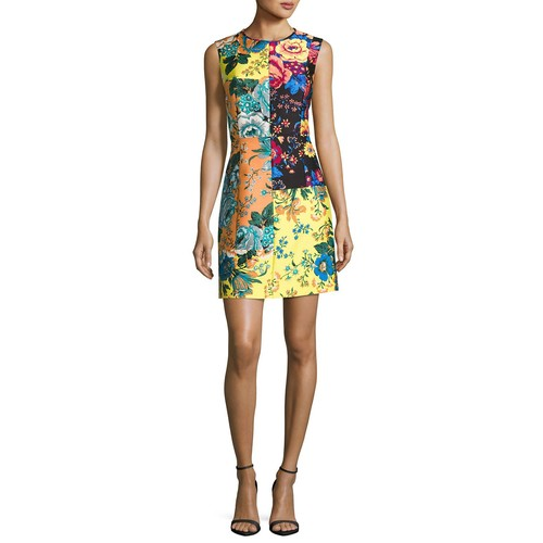 DIANE VON FURSTENBERG Sleeveless Tailored Paneled Shift Dress, Multiprint