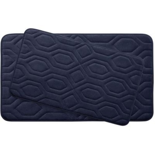 BounceComfort Turtle Shell Indigo Memory Foam 2-Piece Bath Mat Set