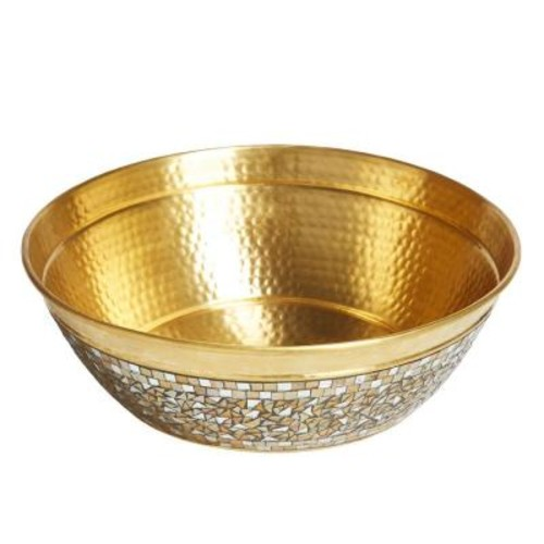 SINKOLOGY Shockley Solid Brass Vessel Sink in Champagne with Hand Applied Glass Mosaic Exterior