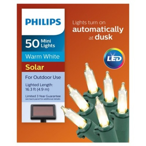 Philips 50ct Christmas Solar Powered LED Mini String Lights - Warm White
