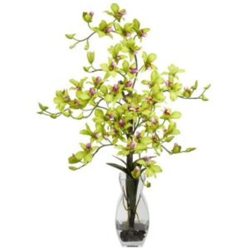 35 in. H Green Dendrobium with Vase Silk Flower Arrangement
