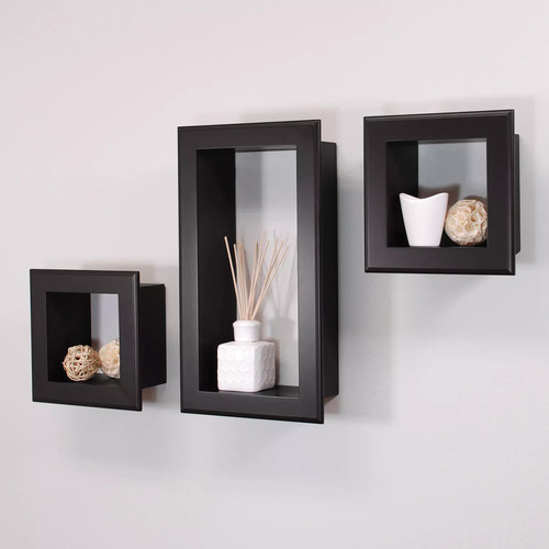 AZ Home and Gifts nexxt Framed Cubbi 10 in. x 18 in. MDF Wall Shelf in Black (3-Piece)