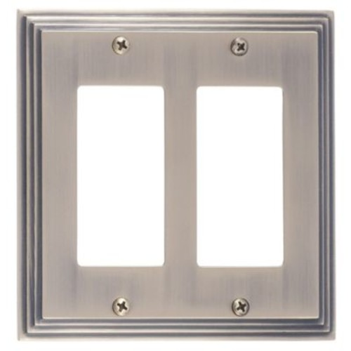 BRASS Accents Classic Steps Double GFCI Plate; Antique Brass