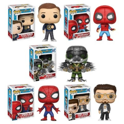 Funko Pop! Marvel: Spider-Man Homecoming Collectors Set: Peter Parker, Vulture, Spider-Man Proto, Spider-Man, Tony Stark Kitty Tee