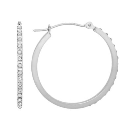 Diamond Fascination 14K White Gold Diamond Accent Round Hoop Earrings