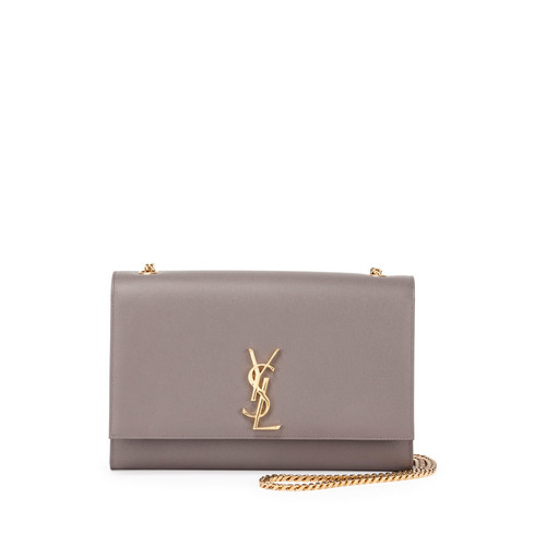 SAINT LAURENT Monogram Kate Large Chain Shoulder Bag, Gray