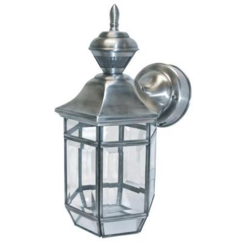 Heath Zenith 150 Degree Silver Lexington Lantern with Clear Beveled Glass