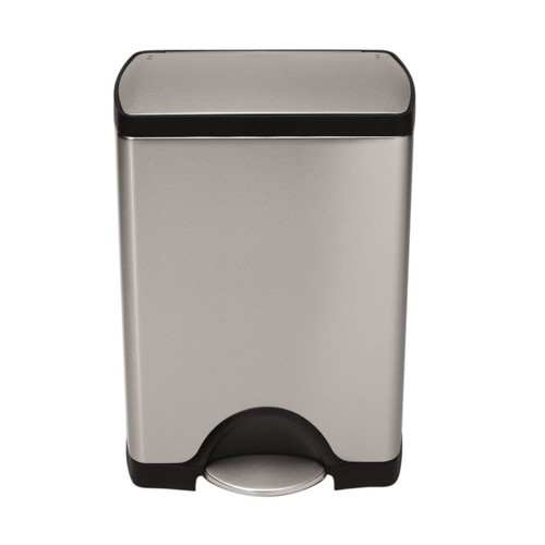 simplehuman Rectangular Brushed Stainless Steel Step Trash Can, 8 Gallons