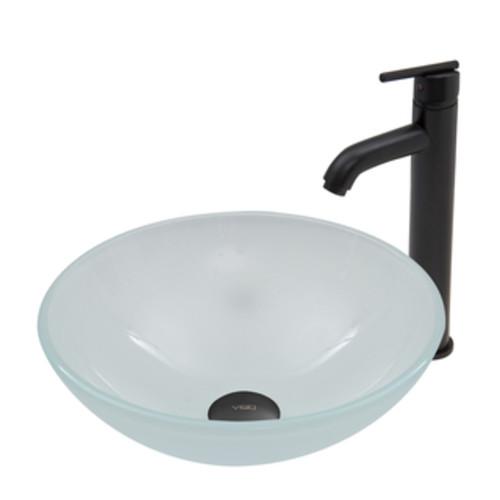 VIGO White Frost Glass Vessel Sink and Seville Faucet Set in Matte Black Finish