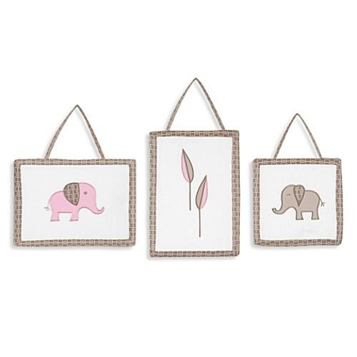 Sweet Jojo Designs Mod Elephant 3-Piece Wall Hangings Pink/Taupe