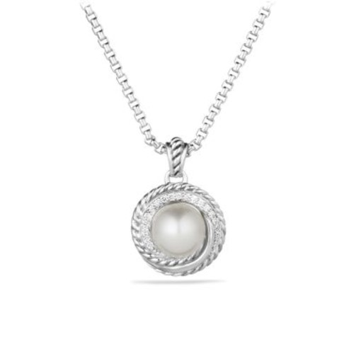 Pearl Crossover Pendant with Diamonds on Chain