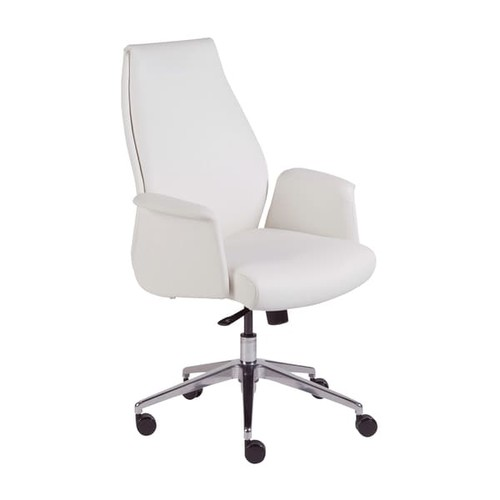 EuroStyle Ilaria White Faux-leather Low-back Office Chair
