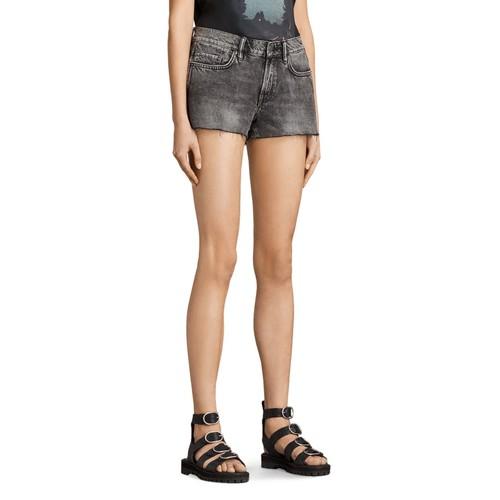 ALLSAINTS Lea Cutoff Denim Shorts In Vintage Gray