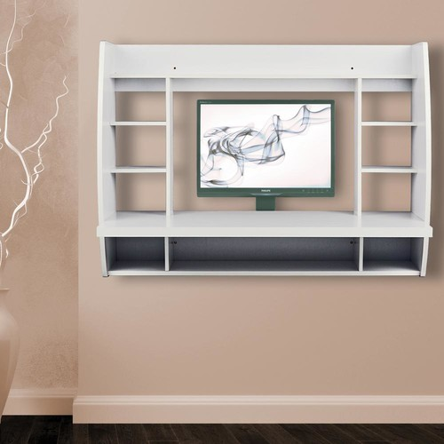 Utopia Alley Melamine Wall Mount Floating Desk with Shelving, Storage Nooks (White)