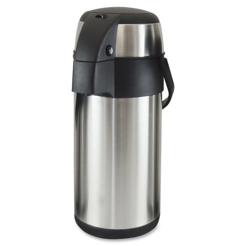 Genuine Joe High Capacity Vacuum Airpot - 3.2 quart (3 L) - Stainless Steel - Stainless Steel