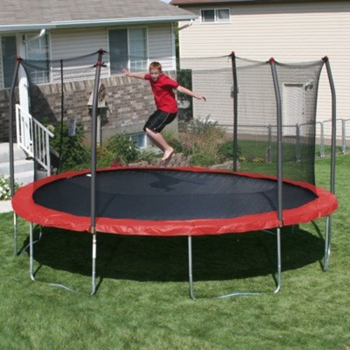 Skywalker Trampolines 15' Round Trampoline with Enclosure and Bright Red Spring Pad