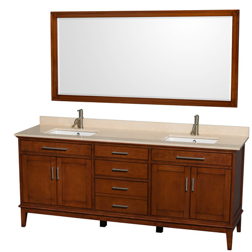 Hatton Collection 80 in Double Bathroom Vanity in Light Chestnut [WCV161680DCLIVUNSM70]