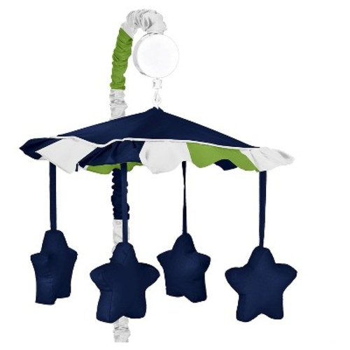 Sweet Jojo Designs Navy Blue and Lime Green Stripe Musical Baby Crib Mobile for Stripe Collection