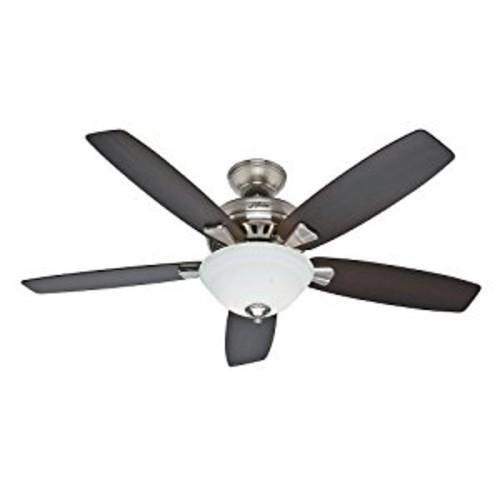 Hunter Fan Company 53175 Banyan 52-Inch Brushed Nickel Ceiling Fan with Five Dark Walnut/Medium Walnut Blades and a Light Kit