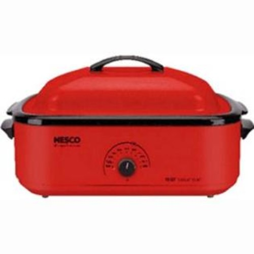 Nesco Classic Roaster Oven, 18Quart, Porcelain Cookwell Red (481812)