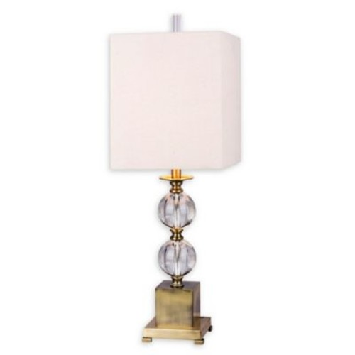 Fangio Lighting Stacked Crystal Ball Table Lamp in Antique Brass with Oatmeal Linen Shade