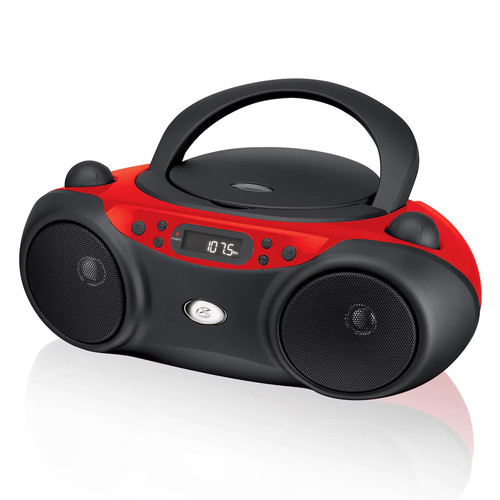 GPX, Inc. Portable Top-Loading CD Boombox with AM/FM Radio and 3.5mm Line In for MP3 Device - Red/Black [Red/black]