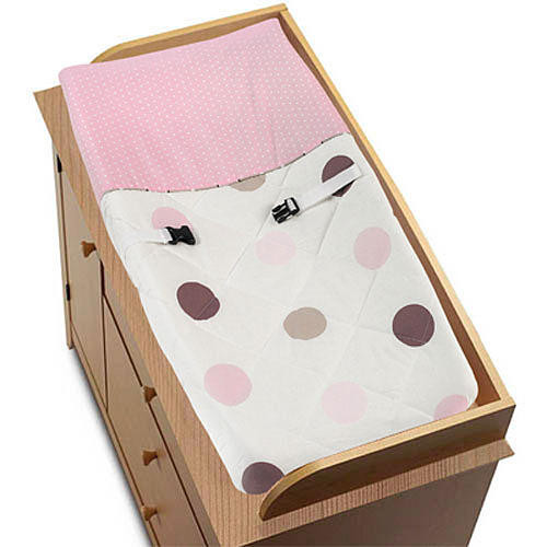 Sweet Jojo Designs Pink and Chocolate Mod Dots Collection Changing Pad Cover