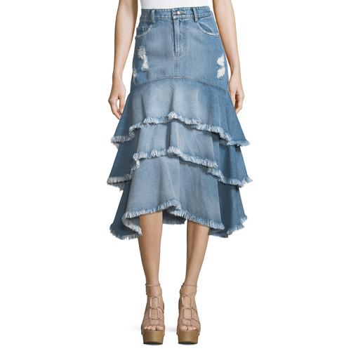 JONATHAN SIMKHAI Distressed Ruffle Denim Midi Skirt