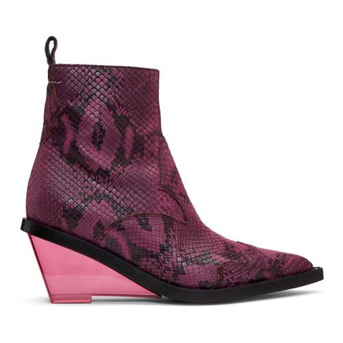 MM6 MAISON MARTIN MARGIELA Pink Faux-Python Wedge Boots
