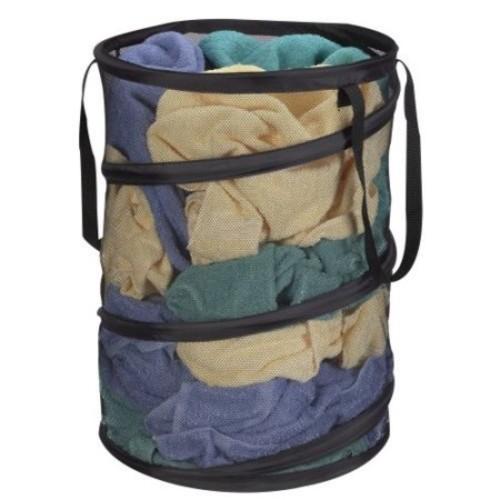 Household Essentials 2026 Pop Up Laundry Hamper Polyester Black Mesh