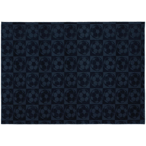 Garland Rug Soccer Balls Navy 7 ft. 6 in. x 9 ft. 6 in. Area Rug